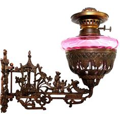 Vintage Cast Iron Antique Oil Lamp Candle Holder Wall