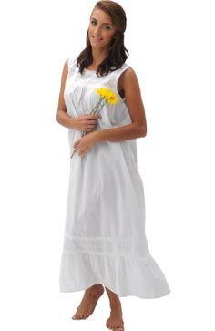 Isabel - Victorian White Cotton Long Sleeveless Nightgown $18.99