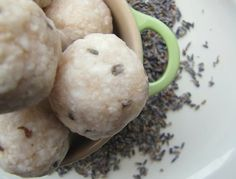 "Easy Lavender Soap Balls    These soap balls are so simple to make; even the kids can help! They have a definite ""rustic"" look, which makes it easy to hide mistakes.    Supplies needed:  1 Tablespoon dried lavender  1/3 cup water  2 large bars natural soap, grated  Lavender essential oil, 5 drops  Large bowl  Small saucepan    Method:"