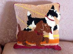 Scottie Dog Punchwork Pillow Scotty Dogs Wool by MyFrenchTexas