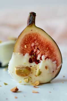 White Chocolate Dipped Figs Recipe with crushed pistachios