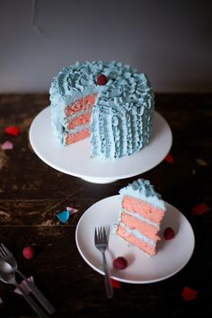 blue ruffle buttercream cake pink layers