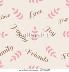 Seamless vector pattern with branches and words