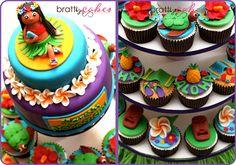 Hula Girl Cake Cuppies by Natty-Cakes (Natalie), Mini Cakes, Cupcake Cakes, 6 Cake, Tropical Cupcakes, Hawaiian Cupcakes, Beautiful Cakes, Amazing Cakes, Hula Girl Cakes, Aloha Cake