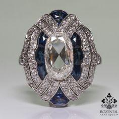 Antique Art Deco Platinum Diamond & Sapphire Ring – Rozental Antiques