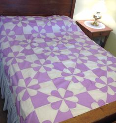 Vintage Quilt Top Lilac Purple Hearts & Gizzards by AStringorTwo
