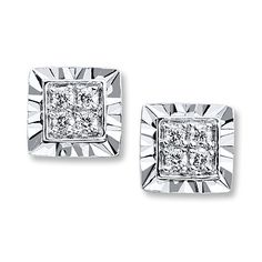 Diamond Earrings 1/10 ct tw Round-cut Sterling Silver.  Birthday gift from my wonderful husband.