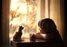 Kedi Çocuk Fotoğraf Mum