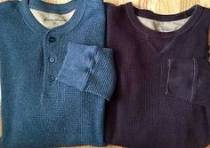 Lot of 2 Mens EDDIE BAUER XLThermal Shirts Long Sleeve Gray Crew/Henley Neck XL