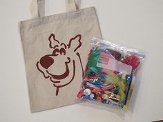 scooby stencil I put on a tote along with a craft kit bag for the birthday boy