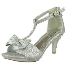 Kids Dress Sandals T-Strap Bow Accent Glitter High Heels Silver Generation Y High Heels For Kids, Clear High Heels, Glitter High Heels, Silver High Heels, Open Toe High Heels, Silver Shoes, Girls Dress Sandals, Girls Heels, Next Shoes
