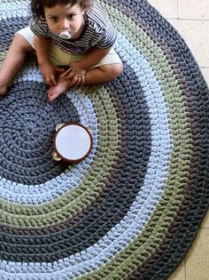 Crochet Rug Round Rug Colorful Rug Children Rug by OmaniStudio, Crochet Mat, Crochet Carpet, Crochet Amigurumi, Crochet Round, Crochet Home, Love Crochet, Beautiful Crochet, Tapetes Diy, Knit Rug