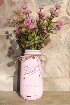 Pale pink vintage-inspired Wide Mouth Mason/Ball jar/vase, shabby chic, table centerpiece, housewarming gift, bridal shower, baby shower