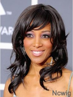 Long Black Wavy Layered No-Fuss African American Wigs African Braids Hairstyles Pictures, African American Hairstyles, Afro Hairstyles, Black Women Hairstyles, Hairstyles 2018, Bangs Hairstyle, Beautiful Hairstyles, Best Human Hair Wigs, Cheap Human Hair Wigs