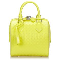 "Pre-owned """"Speedy Cube PM Damier facet"""" (19.522.210 IDR) ❤ liked on Polyvore featuring bags, handbags, yellow, yellow leather purse, louis vuitton, yellow handbags, real leather purses and pre owned handbag"