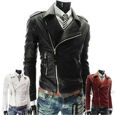 Black White Red Leather Jackets Men Motorcycle Biker Clothes Korean Kpop Fashion