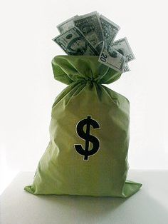 Huge Money Bags!  Party decorations for my Student Loan Payoff Party. I made this from a lime green pillow case and I am making more in other bright colors. The how-to is on my blog.