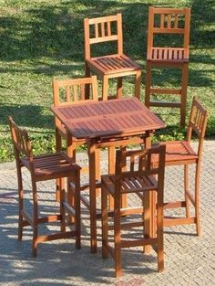 "5pc Outdoor Wood Patio Bar Furniture - Extendable by Pebble Lane Living. $599.99. Outdoor Patio Bar Stool Dims:18"" x 16.5"" x 45.5"". Seat Height is 29"". 1 Extendable Table: Dimensions: 31.5"" x 31.5"" x 44"". Includes 4 Outdoor Patio Bar Stools. Table Extended: 47"" x 31.5"" x 44"". Some Assembly required, additional chairs sold separately, 2 umbrella holes (1.75"")"