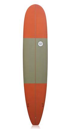 Watershed Surfboards 'Captain' Longboard Khaki and Orange 9'3
