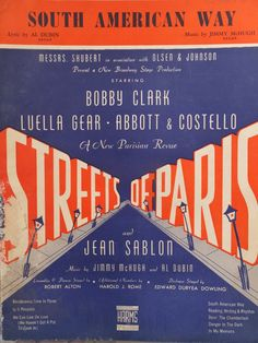 1939 South American Way Streets Of Paris Al Dubin Jimmy McHugh Song Book Sheet Music by CindysCozyClutter on Etsy