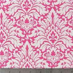 1/2 Yard Hot Pink Damask Cotton Fabric for by RetroModChic on Etsy,