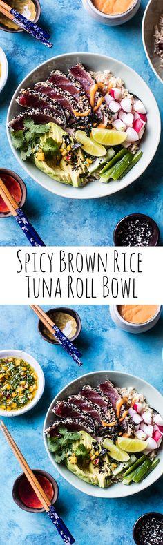 Spicy Brown Rice Seared Tuna Roll Bowl   halfbakedharvest.com @hbharvest