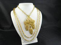 Trifari Gold Chain Statement Necklace Trifari Crown Necklace
