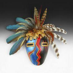Wright's Indian Art: Metallic Blue Lightning Mask by D.R. Nance