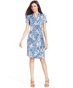 Karen Kane Short-Sleeve Paisley-Print Faux-Wrap Dress