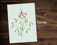 Weihnachten Postkarte Mistelzweig von VIERUNDFÜNFZIG PAPETERIE auf DaWanda.com