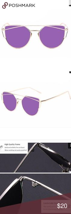 Flat Lens Mirrored Cat Eye Sunglasses Purple/Gold Gold frame and purple lens. Resin and metal. UV400. Total width 143mm. Lens width 57mm. Frame height 52mm. Bridge 18mm. Leg length 140mm. Boutique Accessories Glasses