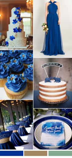 Blue and White Wedding Ideas - royal blue wedding color ideas and tulle bridesmaid dresses