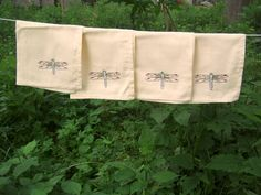 4 Dragonfly cloth napkins hand stitched by ThreeStrands on Etsy, $26.00