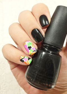 Neon Leaves – China Glaze : Liquid Leather Water decals : Dy-058 from Born Pretty Store : http://www.bornprettystore.com/sparkleswater-decals-colorful-space-transfer-nail-stickers-p-21563.html Try...