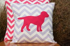 LOVE!!!  Fun little girl's bedroom!!!!  Modern Chevron Lavender and Pink Puppy Pillow by nest2impress,