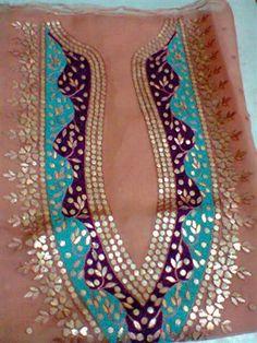 Cloth/Shoes/Accessories:MenType:gota work i m shahzad ramzan Kurta Designs, Blouse Designs, Hand Embroidery, Embroidery Designs, Dress Neck Designs, Kamiz, Hand Art, Neck Pattern, Churidar