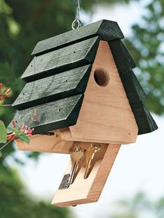 Never be locked out again. Cedar birdhouse from Solutions hides your house keys.