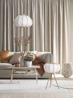 Golvlampa i bambu - Vit/Bambu - Home All Decor Room, Living Room Decor, Home Decor, Nordic Living Room, Living Room Designs, Living Spaces, Estilo Interior, Hm Home, White Floor Lamp