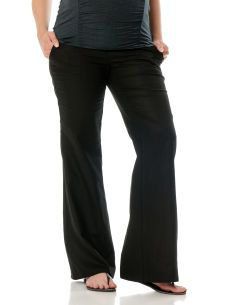 Under Belly Linen Drawstring Wide Leg Maternity Pants