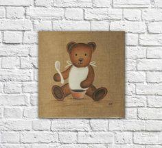 Tableau nounours bavoir illustration teddy bear vintage
