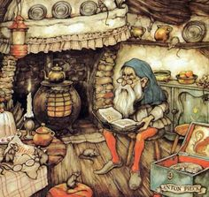 Artwork by Anton Piek Dutch painter, artist and graphic artist. Trolls, Anton Pieck, Dutch Painters, 3d Prints, Dutch Artists, Beatrix Potter, Children's Book Illustration, Gnomes, Fantasy Art