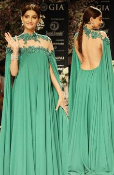 Sexy Evening Dress A-line Green Sheer Neck Appliques Backless Chiffon Long Prom Dress Evening Gown Prom Gown