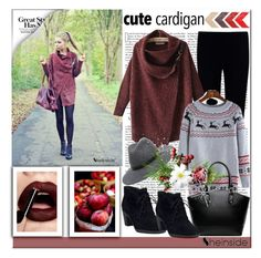 """""""Red Cardigan Sweater in SheIn!"""" by cherry-bh ❤ liked on Polyvore featuring Joseph, Clarks, Bebe, red, Sweater, cardigan and shein"""