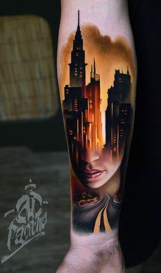 Beautiful Surrealist Double-Exposure Tattoos Mash Up People, Architecture & Nature - KickAss Things Pop Art Tattoos, Modern Tattoos, Tattoos Skull, Weird Tattoos, Leg Tattoos, Arm Band Tattoo, Tattoos For Guys, Sleeve Tattoos, Tattoo Photography