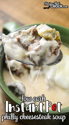 Low Carb Recipes This Electric Pressure Cooker Philly Cheesesteak Soup is a super easy keto friendly low carb soup recipe that everyone loves! This recipe will work in your Instant Pot, Ninja Foodi or Crock Pot Express quart pressure cookers. Crock Pot Recipes, Low Carb Soup Recipes, Slow Cooker Recipes, Diet Recipes, Cooking Recipes, Instapot Soup Recipes, Pressure Cooker Soup Recipes, Low Carb Soups, 6 Quart Pressure Cooker