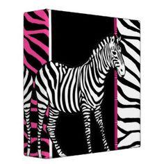 Hot Pink Zebra Print Avery Binder + .: Cool Zebra Print Binders