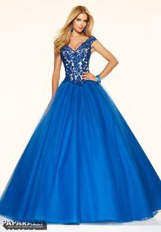 Prom dresses by Paparazzi Prom Beaded Lace on a Tulle Ball Gown Zipper Back Closure. Colors Available: Fuchsia, Royal, Stiletto