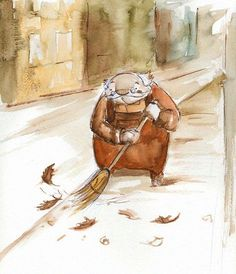 ~an elderly fellow sweeps the sidewalk, whilst the wind blows wistfully~