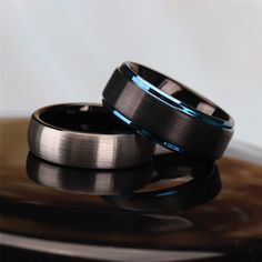 This ring has a two-tone design with blue and black, making it look more elegant and stylish. There is arched design on the inside, half line edge and highly polished make the ring a perfect fit for your fingers. Rings Information on our Site Tungsten Engagement Rings, Leaf Engagement Ring, Unique Diamond Engagement Rings, Tungsten Rings, Tungsten Carbide, Platinum Wedding Rings, Celtic Wedding Rings, Custom Wedding Rings, Wedding Bands