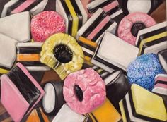 Allsort Anyone by Ruth Rothery Candy Drawing, Pop Art Food, Sweets Art, Sarah Graham, Close Up Art, Liquorice Allsorts, Gcse Art Sketchbook, Observational Drawing, Food Artists